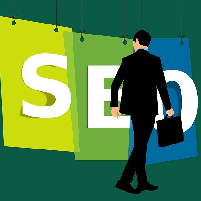 Formal-dressed SEO Company person with a office bag in hand and SEO banner hanging